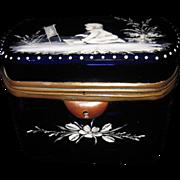 Antique Mary Gregory Cobalt Blue Glass Box Casket