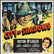 "Enormous Original Movie Poster ""CITY OF SHADOWS"" 6sh  81""x81"""