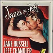 "Original Movie Poster ""Foxfire"" Jane Russell, Jeff Chandler, Dan Duryea"