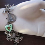 Vintage Sterling Charm Bracelet some moving charms 30 in all!