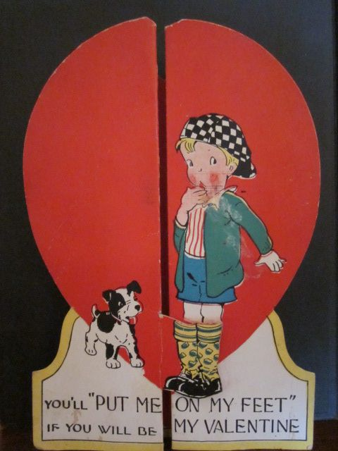 Vintage Valentine Card With Cute Boy and Dog