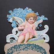 Vintage Fold- Out 3-D Valentine with Cupid, Bows and Flowers