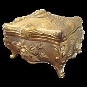 Art Nouveau Repousse Trinket Dresser Box