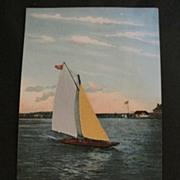 Vintage Postcard Yachting at Atlantic City NJ
