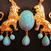 Donald Stannard Twin Lions Necklace with Turquoise Blue Cabochons