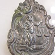 Art Nouveau Chatelaine Belt Hook Scales of Justice depiction
