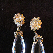 Vintage Miriam Haskell Chandelier Crystal Earrings