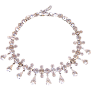 Vintage Rhinestone Teardrop Droplets Choker Necklace Bib Necklace