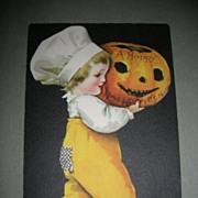 Rare Halloween postcard Wolf & Co.  Ellen Clapsaddle Child with JOL