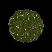Art Deco Carved Green Bakelite Brooch or Pin