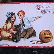 Frances Brundage Halloween Postcard with kids, JOL and Black Cat