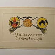 Vintage Halloween Postcard Witch JOL Bat & CAT