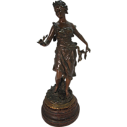 Vintage Signed Bronzed Spelter Statue titled Muse, created after Rancoulet