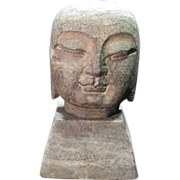 """SALE PENDING Stone Buddha Head Statue with Square Base, measures 5"""" tall"""