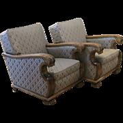 Pair of Swedish Art Deco Neo-Gothic Club Chairs