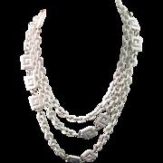 Vintage CROWN TRIFARI Greek Key White Necklace with Trifari Hang tag 1970s necklace