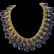 Vintage Trifari Murano Millefiore Millefiori Glass beaded Necklace with Brass Tassels