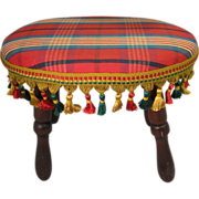 Vintage Wooden Oval Footstool, Newly Upholstered