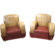 SOLD Pair of Art Deco Club Chairs c.1930