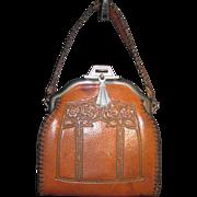 Art Nouveau Leather Handbag with Flowers & Hand Sewn