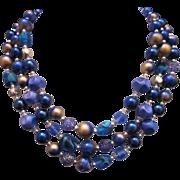Vintage Triple strand Necklace purple and blue art beads c. 1950