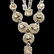 Vintage Bogoff Art Deco Style Rhinestone Necklace