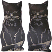 Folk Art Wood Hand Painted Black Cat Bookends