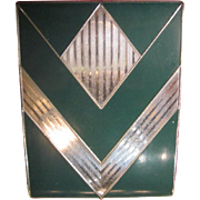 Vintage Signed Evans Enamel and Chrome Cigarette Case-Green and Chrome chevron design