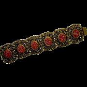 Vintage Molded Celluloid Faux Coral Gold Tone Bracelet-Six sections