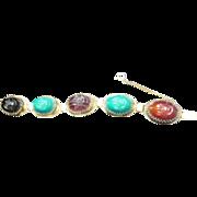 Egyptian Revival Huge Glass Scarab Bracelet