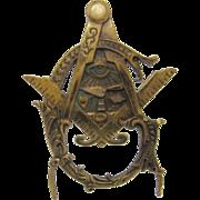 Antique Masonic Freemason Symbolic Brass Plaque or Stand