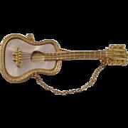 Vintage Mother of Pearl Mandle Guitar Brooch