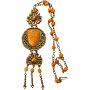 Vintage Mexican Copper Onyx & Glass Necklace