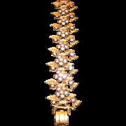 Vintage leaf Bracelet with Pastel rhinestones and simulated Pearls- Gold tone metal