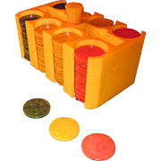 Art Deco Catalin Bakelite Poker Chips Set Caddy in Butterscotch, Cherry and Green
