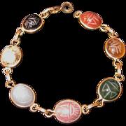 Vintage Egyptian Scarab Bracelet - Natural Stone 12KT GF