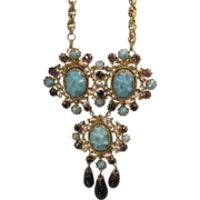 Schreiner Turquoise Glass and Amethyst Glass Necklace/Brooch with Dogtooth Prong setting