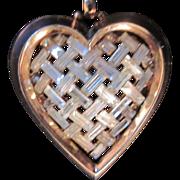 Vintage Trifari Heart Pendant and large Gold tone Trifari snake Chain