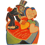 Vintage Mechanical Valentine Monkey moving eyes with top hat and tails