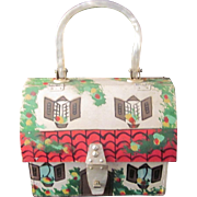 Vintage Mister Ernest Hand Painted & Signed Wood and Lucite House Purse