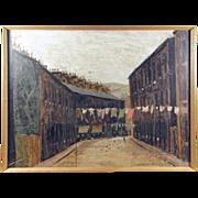 SOLD Peter Brook RBA RSA (British 1927-2009) Chapel Street Oil on Board