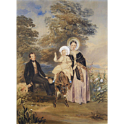 Edward J Harding (Irish 1804-1870); A Family Portrait (1839) Watercolor