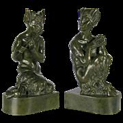 Sir Alfred Gilbert (British 1854–1934) A Pair of Bronze Sculptures of Fauns