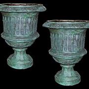 Pair Bronze Garden Urns