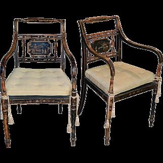 Pair of 19th Century English Regency Armchairs