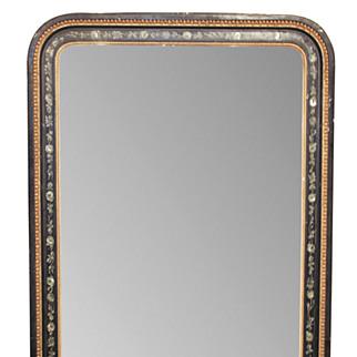 French Napoleon III Black Lacquered Mirror