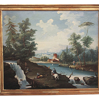 Continental Oil of River Scene