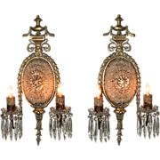 Pair of French Beaded & Bronze Sconces