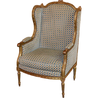 19th Century French Louis XVI Giltwood Bergere
