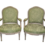Louis XVI Painted Fauteuil Armchairs